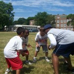 Evanston Bears Youth Football Camp, Mickey Pruitt Huddle